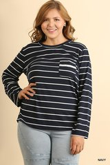 Navy/Ivory Striped Lace up Top with Pocket (PS143)
