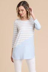 Light Blue Striped 3/4 Sleeve Knit Top (T951)