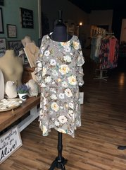 Grey Floral Cold Shoulder Dress (PS126)