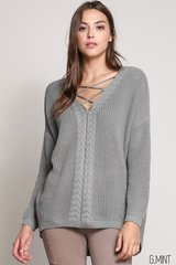 Mint Green/Twig Lace Up Sweater (T872)
