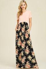 Blush/Black Floral Empire Waist Maxi Dress (SDB65)