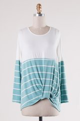 Seafom/Ivory Striped Long Sleeved Knit Top w/Side Twist (T942)