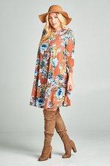 Marsala Floral 3/4 Sleeve Dress (PS136)