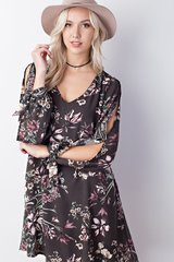 Olive/Rust Floral Cutout Sleeve Dress (D296)
