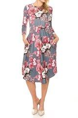 Grey/Light Blue Floral Midi Dress w/Pockets
