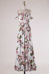 Ivory Floral Off Shoulder Maxi Dress with Side Slit (D324)