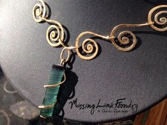 Cosmic Spiral Necklace with Very Rare Brazilian Sea Foam Green Uncut Tourmaline