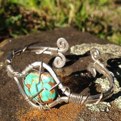 Handmade Unique Silver Spiral Wrapped Turquoise Bracelet with Custom Variation