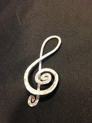 Handmade Silver Spiral Treble Clef, Heirloom Quality