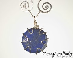 Silver Cosmic Spiral Necklace with Inclosed Lapis Lazuli Stone