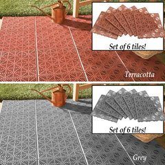 Set of 6 Interlocking Patio Flooring Tiles