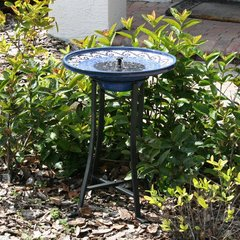 Smart Solar Mosaic Ceramic Solar Outdoor Bird Bath Fountain with Metal Stand