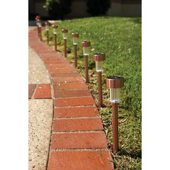 Solar Copper LED Path Lights - 10 Piece