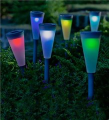 Set of 6 Solar Powered, Color Changing Path Lightes