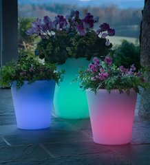 Traditional Lighted Color-Changing Solar Planter
