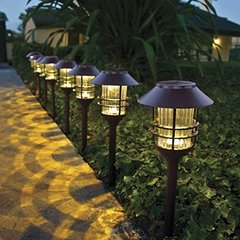 8 Piece Stainless Steel LED Solar Pathway Lights