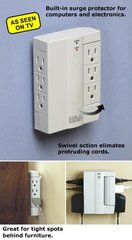 6-outlet power strip that sits flush to the wall