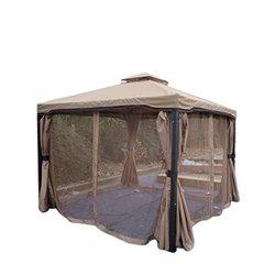 Outdoor Iron Gazebo Canopy w/ Net Drapery