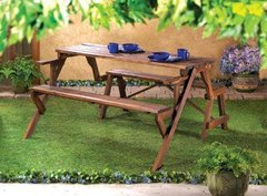 Rustic Convertible Outdoor Bench Picnic Table
