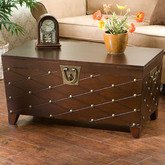 Wood Table Storage Trunks in End or Coffee