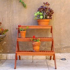 Eucalyptus Wood 3 Tiered Plant Stand