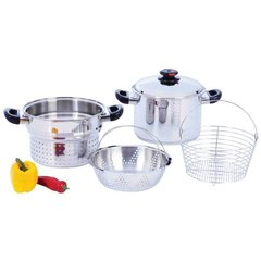 8qt T304 Stainless Steel Stockpot/Spaghetti Cooker with Deep Fry Basket & Steamer Inser