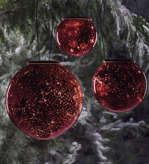 Red Glass Solar Hanging Balls  Set of 3