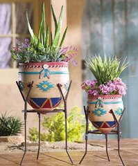 Native American Garden Planters with Stands - Set of 2