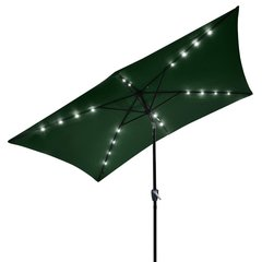 10 Ft Tilt Outdoor Rectangular Umbrella With Solar Lights