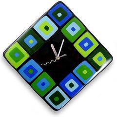 Modern Squares Fused Glass Clocks