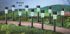 Set of 10 Black Solar Pathway Garden Stake Lights