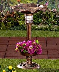 Solar Lighted Bird Bath with Planter