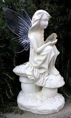 Solar Fairy Statue with Amber LED Bird Light with Clear or Frosted Wings