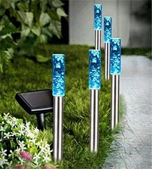 Solar Stainless Steel/Acrylic Bubble Pathway Lights Set of 5