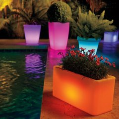 Solar Lighted Color Changing Planters w Remote