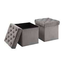 Foldable Storage Ottoman Cube Foot Rest, (2 Pack)