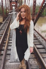Taupe Cardigan with Crochet Ball Fringe