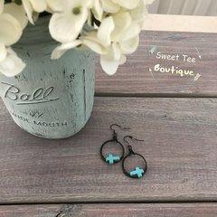 Black Hoop Turquoise Cross Earrings