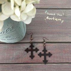 Metal Cross Earrings