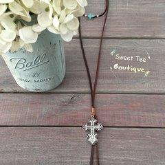 Brown Choker Cross Necklace
