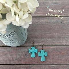 Turquoise Stone Cross Earrings