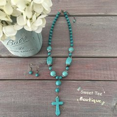 Turquoise Cross Necklace w/ Earrings