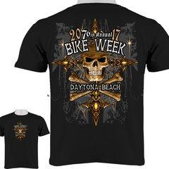 Daytona Beach Bike Week 2017 Skull & Cross Bones T-Shirt 0003