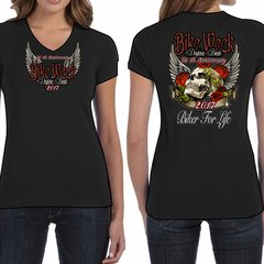 Bike Week Ladies 005 Roses/Skull T-Shirt
