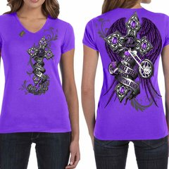 Bike Week Daytona Beach 2017 Purple Cross T-Shirt Ladies 027