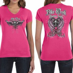 Bike Week Ladies 003 Angel Wings T-Shirt