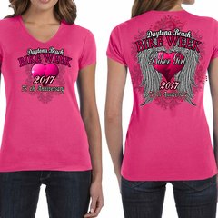 Bike Week Ladies 010 Big Angel Wings & Heart T-Shirt