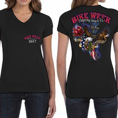 Bike Week Daytona Beach 2017  Ladies 017 Patriotic/Rose T-Shirt