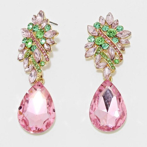 Pink and green crystal chandeliers earrings m1 azzeli pink and green crystal chandeliers earrings m1 aloadofball Choice Image