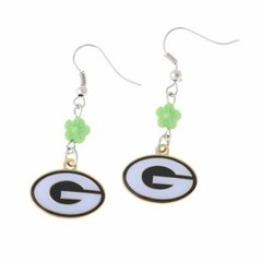Green Bay Packers Dangle G Logo Beaded Earrings